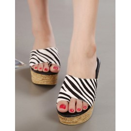 Leisure Wedge Heel Slipper with Zebra Print Size:35-39
