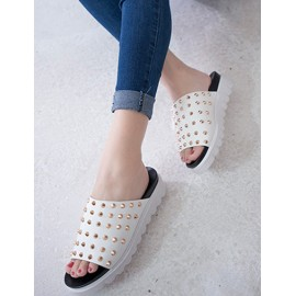 Punk Two Tone Open Toe Slipper with Spike Detail Size:35-39