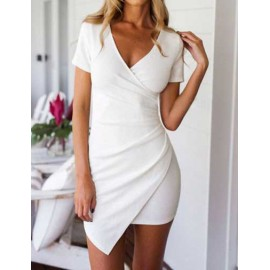 Vibrant Short Sleeve Wrap Slinky Dress in Pure Color