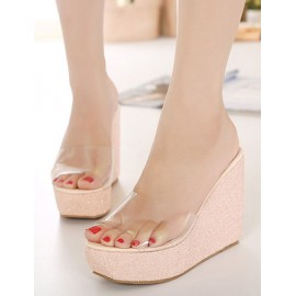 Korean See-Through Wedge Heel Slippers with Peep-Toe Size:34-39