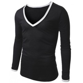 Basic Deep V-Neck Long Sleeve Slim Fit T-Shirt