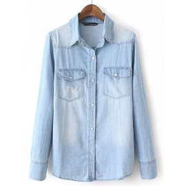 Classic Basic Denim Shirt in Wash Bleached Size:S-L