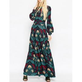 Vintage Lantern Sleeve Floral Print Maxi Dress with Cut Out Detail