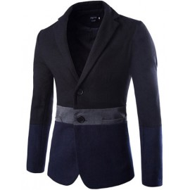 Laconic Lapel Collar Two Tone Blazer with Pocket