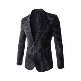 Aristocratic Vertical Pinstripes Twin Buttons Design Blazer