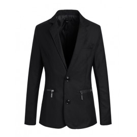 Chic Zipper Embellished Twin Buttons Blazer