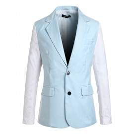 Refined Twin Buttons Trim Blazer in Contrast Color