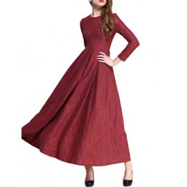 Graceful Long Sleeve Crew Neck Floral Jacquard Prom Dress with Pleat