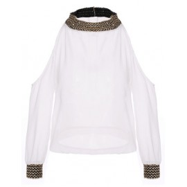 European Cut-Out Shoulder Sequin Trim Stand Collar Blouse in White Size:S-XL