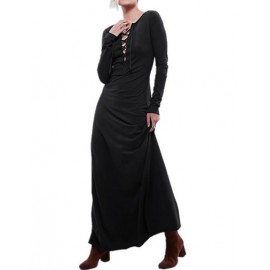 Sexy Lace-Up V-Neck Maxi Dress with Long Sleeve