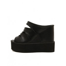 Cozy Hollow-Out Hidden Wedge Heel Platform Slippers Size:34-38
