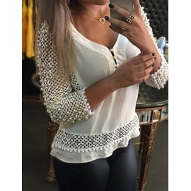 European V Neck Grid Pattern Blouse with Beads Size:S-XL