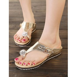 Stylish Rhinestone Trim Flat Heel Thong Slippers Size:34-39