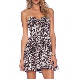 Seductive Sweetheart Neckline Leopard Printed Tube Dress with High-Rise