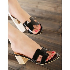 Vogue Chunky Heel Hollow-Out Vamp Slippers Size:35-39