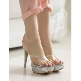 Trendy See-Through Vamp Stiletto Heel Platform Slippers Size:35-39