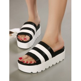Contrast Color Stripes Snake Pattern Platform Heel Slippers Size:35-39