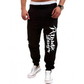 Loose-Fit Color Block Letter Printed Sweatpants with Hip Pocket