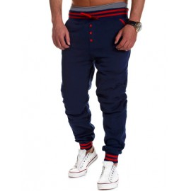 Fashionable Drawstring Stripe Waist Sweatpants with Single-Breasted