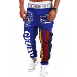 Street Letter Printed Drawstring Waist Sweatpants in Color Panel