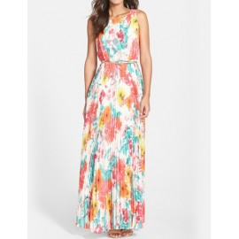 Chic Floral Print Maxi Tank Dress with Pleated Design