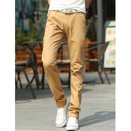 Casual Style Slim Fit Solid Color Fleeced Straight Pants