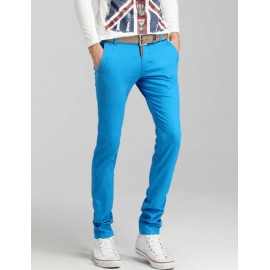 Casual Pure Color Mid-Rise Pants with Hip Pocket