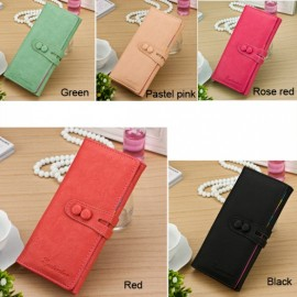 Fashion Women Synthetic Leather Candy Color Bifold Organizer Wallet Long Purse
