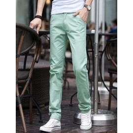 Casual Zip-Up Slim Fit Pants in Pure Color