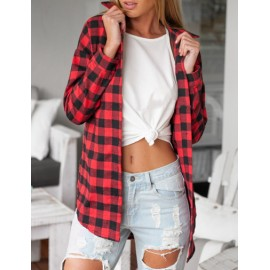 Fashionable Plaid Shirt with Asymmetric Hem Size:S-XL