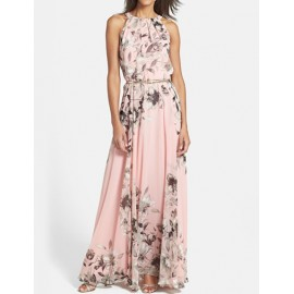 Elegant Floral Print Sleeveless Maxi Dress in Pink