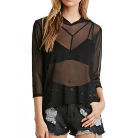 Sexy See Through Mesh Blouse in Hooded Trim Size:S-XL