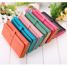New Women Fashion Vintage Style Long Clutch Bag Synthetic Leather Wallet Purse