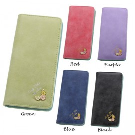 Fashion Hot Fashion Women Flower Decoration Candy Colors Wallet Frosted Purses