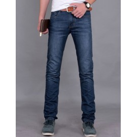 Casual Style Zip Trim Mid-Rise Slim Fitting Straight Jeans