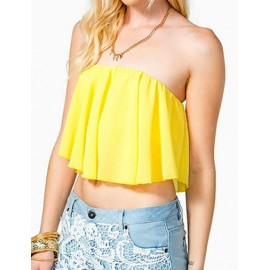 Alluring Off Shoulder Ruffle Tube Top in Pure Color