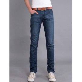 On Sale Casual Style Mid-Rise Slim Fit Straight Jeans