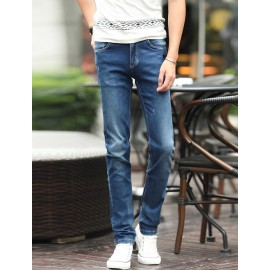 Faddish Washed Slim Fit Skinny Jeans in Blue