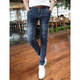 Stylish Embroidery Trim Distressed Detail Jeans