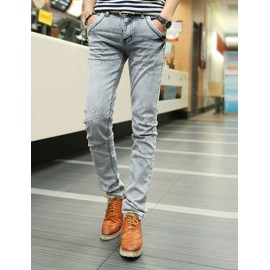 Stylish Contrast Frayed Trim Jeans in Slim Fitting For Men