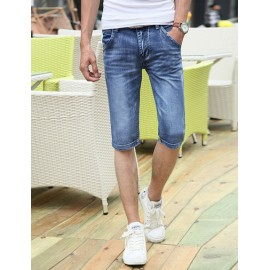 Popular Zip Trim Scratch Detail Slim Fit Denim Shorts