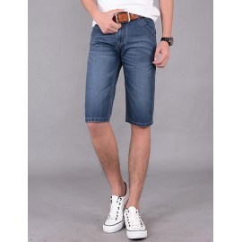 Faddish Five Pockets Slim Fit Straight Denim Shorts