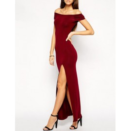 Sexy Bodycon Off-Shoulder Slit Dress with Hollow Back Trim