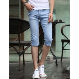 Trendy Elastic Pure Color Denim Shorts in Slim Fit