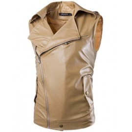 Casual Zip Up Leather Look Sleeveless Jacket in Slim Fit