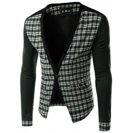 Styling Checked Printed Single-Button Jacket with V-Neck