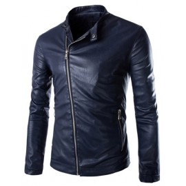 Moto Slanted Zip Trim PU Leather Jacket with Stand Collar