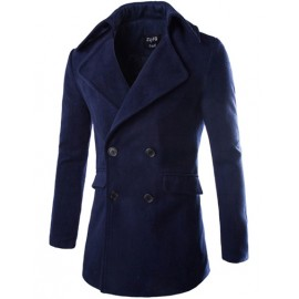 Gentlemanly Double-Breasted Flap Pocket Wool Coat in Solid Color