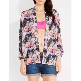 Pastoral Colorful Floral Printed Open Front Kimono with Long Sleeve Size:S-L