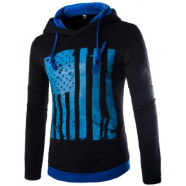 Casual Long Sleeve Flag Printed Hoody with Hood